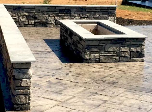 Rectangular custom stone fire pit blackwater concrete for Rectangular stone fire pit