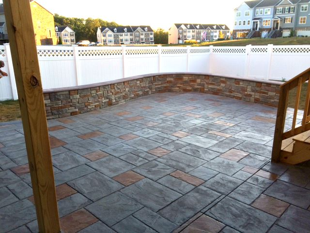 Stamped Patio And Decorative Knee Wall
