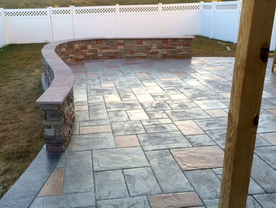 Stamped Patio And Decorative Knee Wall Blackwater