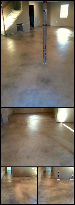 Micro topping overlay with water based stain floor