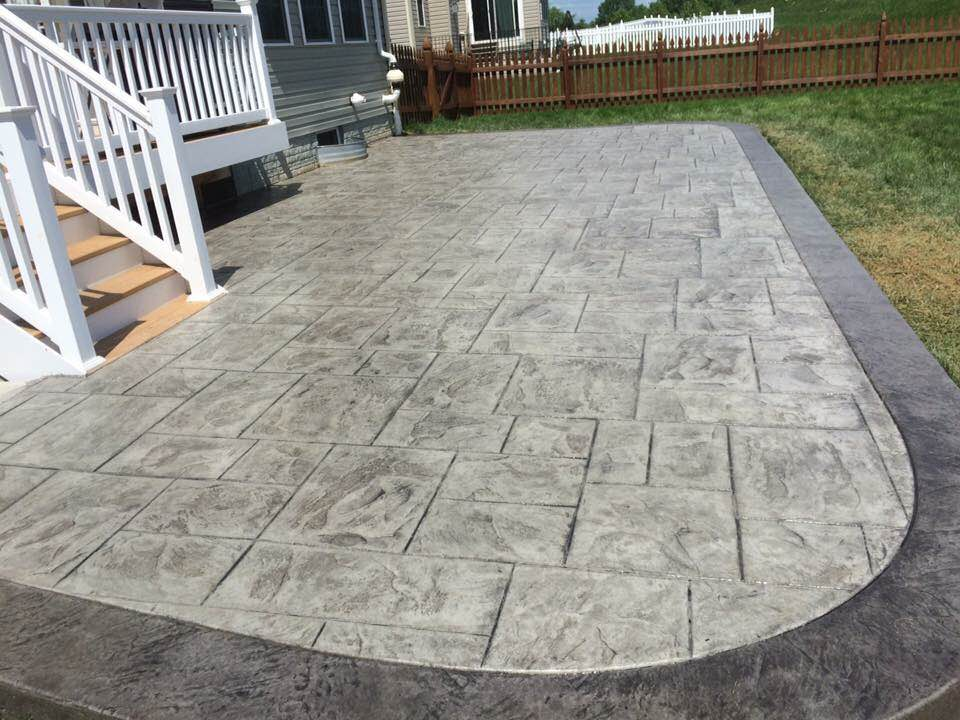 This New Patio Was Creating Using An Ashlar Slate Stamp To Achieve The  Desired Pattern And