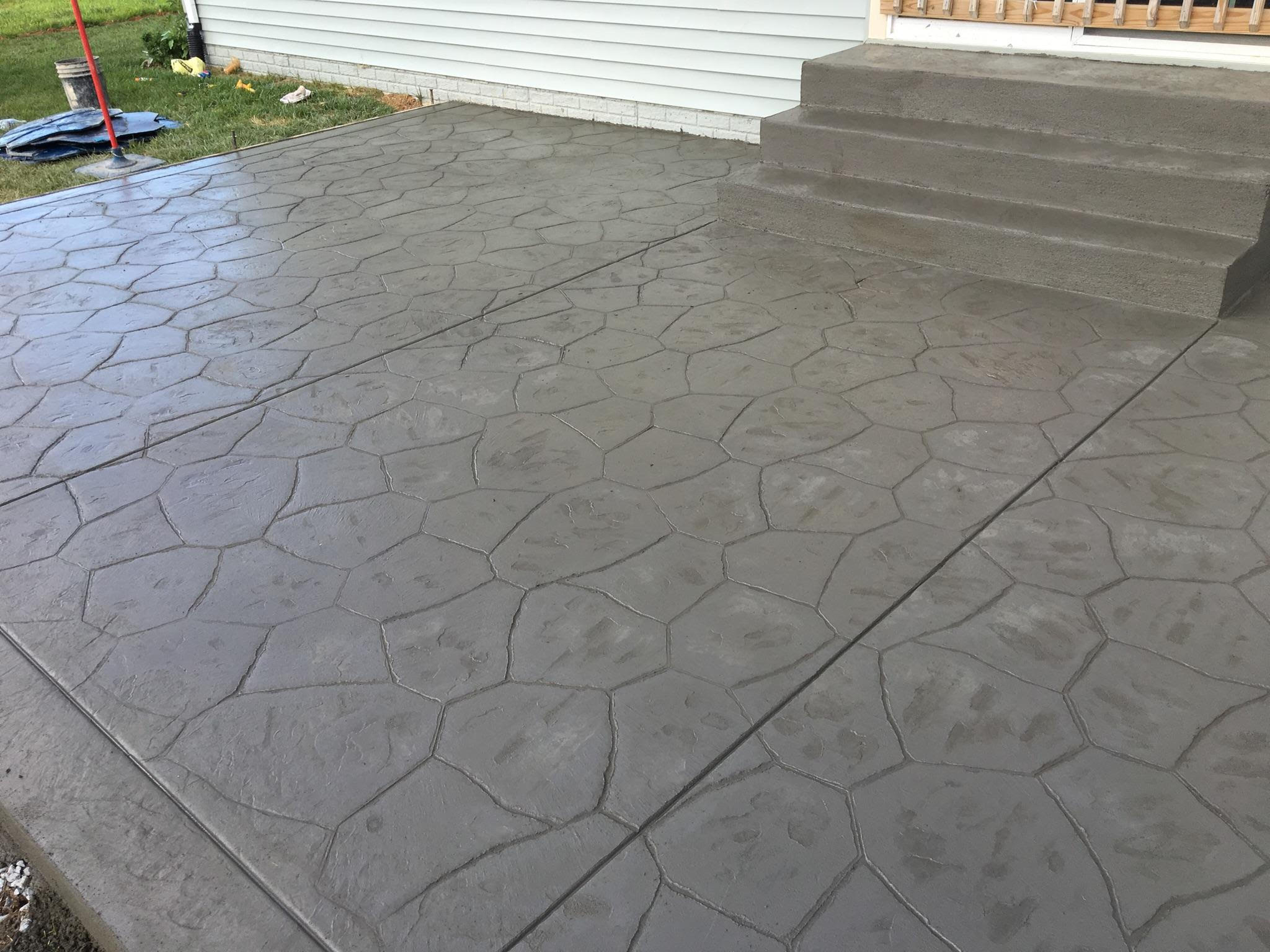 Freshly Stamped Flagstone Patio Blackwater Concrete