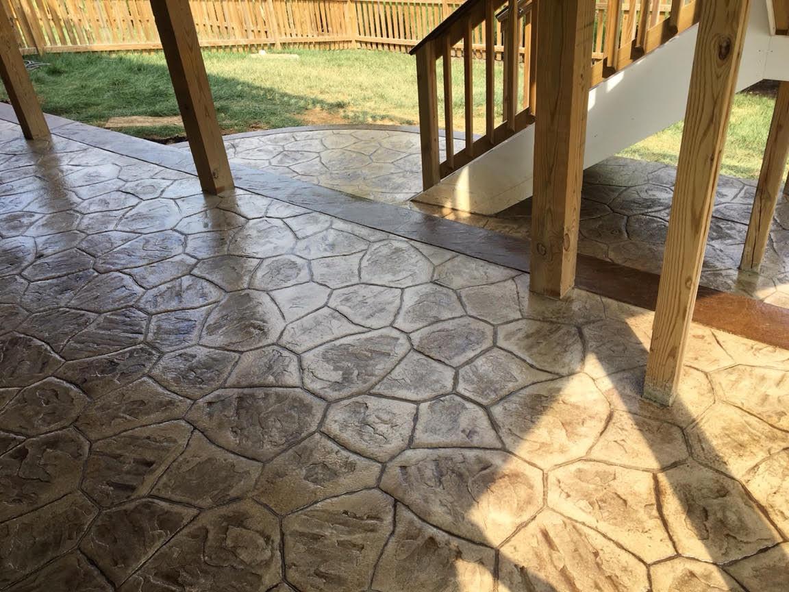 River Rock Stamped Concrete Patio - Blackwater Concrete