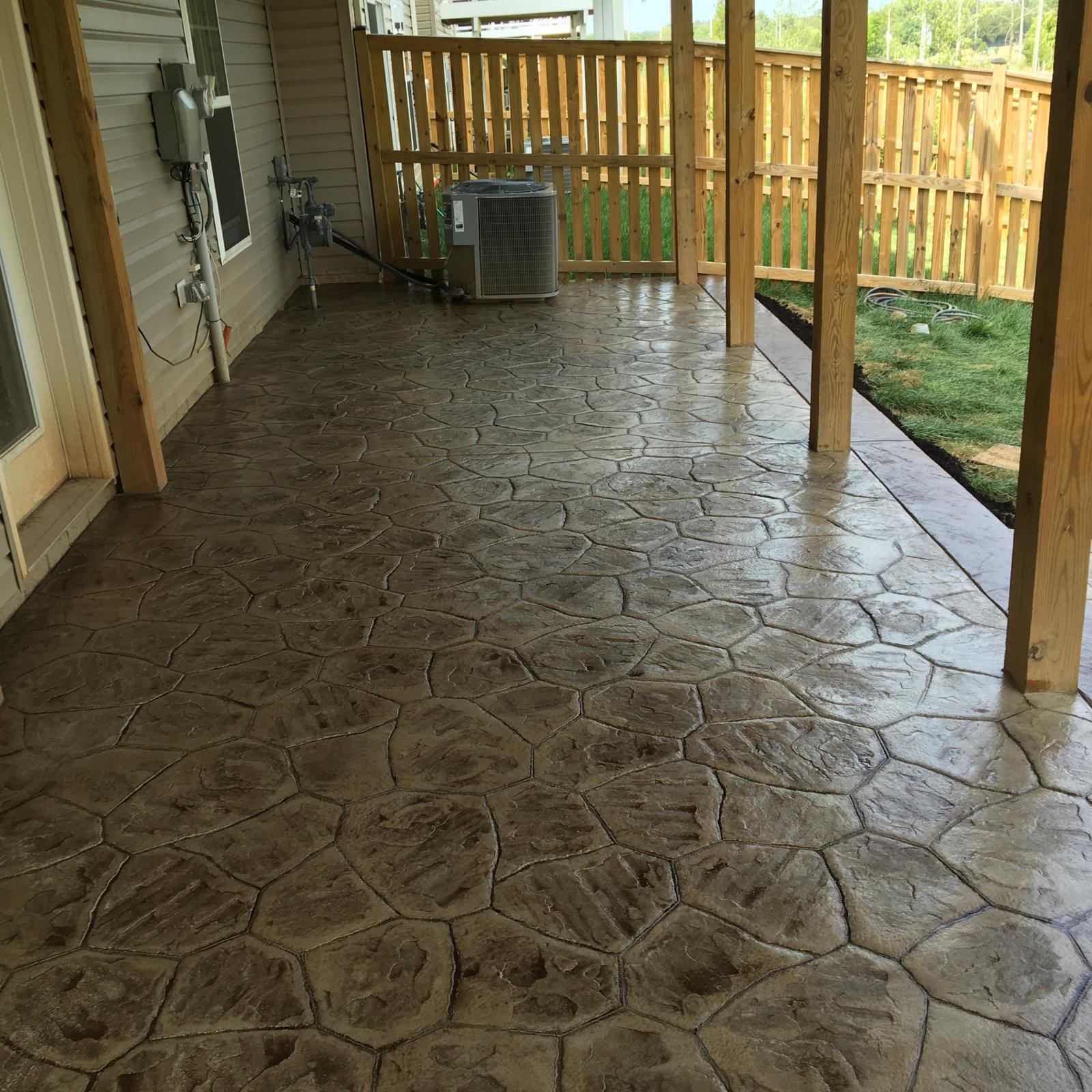 River Rock Stamped Concrete Patio