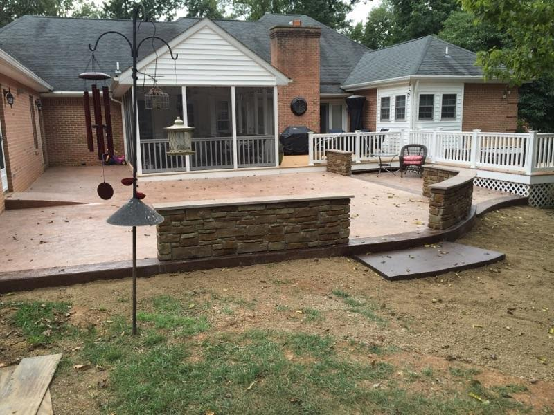 Seamless Texture Patio with Decorative Concrete Wall