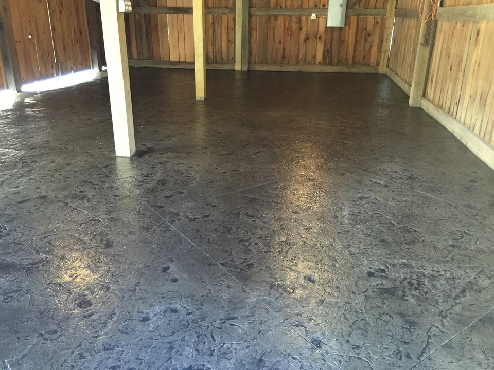 Stamped concrete floor in a rustic pole barn blackwater for Concrete floors in house