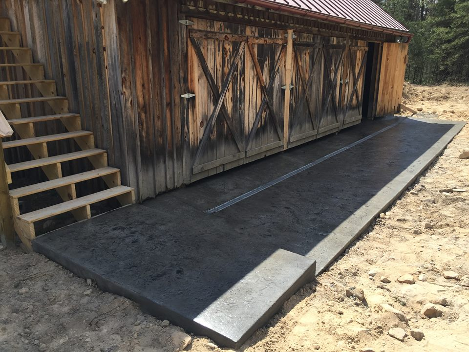 Stamped Cement Floors : Stamped concrete floor in a rustic pole barn blackwater